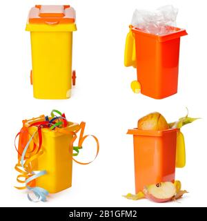 Multicolored Garbage Trash Bins, Recycling Bin, Garbage Bin waste isolated on white background - Stock Photo