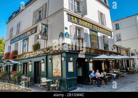 Paris, France - September 20, 2019: Picturesque restaurant located in the Montmartre district of Paris - Stock Photo