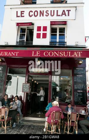 Paris, France - September 20, 2019: Typical restaurant located in the picturesque Montmartre district of Paris - Stock Photo