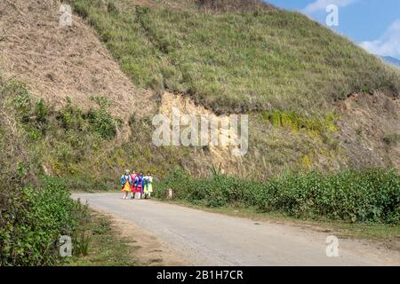 Ta Xua, Son La province, Vietnam - January 22, 2020: H'mong children in traditional costumes on lunar new year - Stock Photo