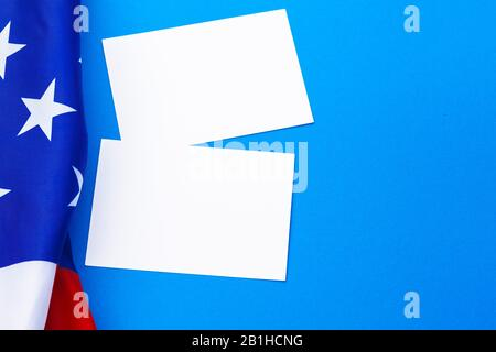 Blank business card with american flag. top view - Stock Photo