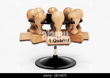 a stamp with the inscription 1. Quartal (1st quarter) hangs in a stamp rack - Stock Photo