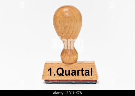 a stamp with the inscription 1. Quartal (1st quarter) - Stock Photo