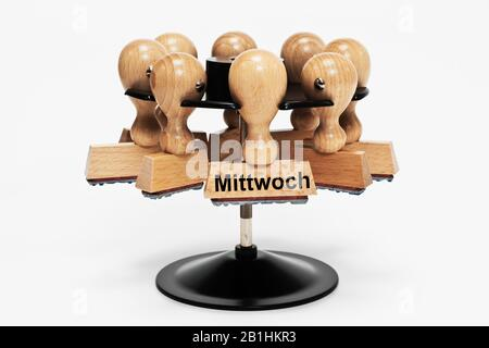 a stamp with the inscription Mittwoch (Wednesday) hangs in a stamp rack - Stock Photo