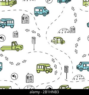 Colored seamless background with a variety of vehicles, signs, road. - Stock Photo