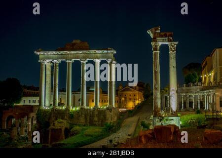 Night view of The Roman forum. Rome, Italy - Stock Photo