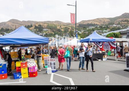 Food stalls at Lyttelton Farmer's Market, Lyttelton, Lyttelton Harbour, Banks Peninsula, Canterbury Region, New Zealand - Stock Photo