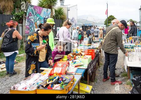 Children's toy stall at Lyttelton Farmer's Market, Lyttelton, Lyttelton Harbour, Banks Peninsula, Canterbury Region, New Zealand - Stock Photo