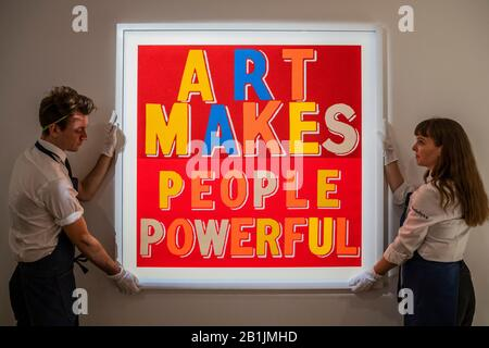 Lonodn, UK. 26th Feb, 2020. Art Makes People, 2019 by Bob and Roberta Smith - Fine Cell Work - Human Touch, a collaboration between contemporary artists and stitchers working in prisons, trained by this leading charity and social enterprise. Working with each artist's narrative and to their precise instructions highly skilled prisoners based around the UK have stitched the unique works - all of which will be on view in Sotheby's London galleries from 26 February until 3 March 2020, and offered for sale by Fine Cell Work. Credit: Guy Bell/Alamy Live News