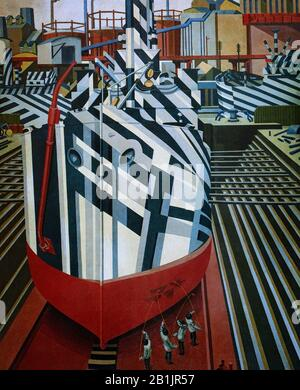 'Dazzled Ships in Dry Dock, Liverpool' by Edward Alexander Wadsworth ARA (1889-1949) was an English artist, most famous for his close association with Vorticism. He painted, often in tempera, coastal views, abstracts, portraits and still-life and was also an engraver on wood and copper. In the First World War he was involved in transferring dazzle camouflage designs onto ships for the Royal Navy, and after the war he continued to paint nautical themes. See  Alamy Image ID: H69FFB, for Peter Blakes modern take. - Stock Photo