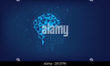 Silhouette of polygonal head and brain. Polygonal illustration of triangles and points. Concept of thinking human, visualization of process of thinkin - Stock Photo