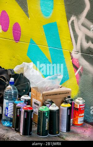 Close up of spray cans for painting graffiti in Hosier Street, Melbourne Lanes, Melbourne, Victoria, Australia - Stock Photo