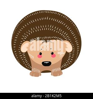 Cute hedgehog on the white background. Hand drawn illustration in scandinavian style. Vector - Stock Photo