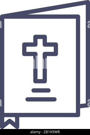 holy bible icon over white background, line style, vector illustration - Stock Photo