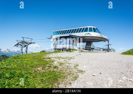 Malbun, Liechtenstein – June 28, 2016.  Upper terminal station of Malbun chairlfit in Liechtenstein. - Stock Photo