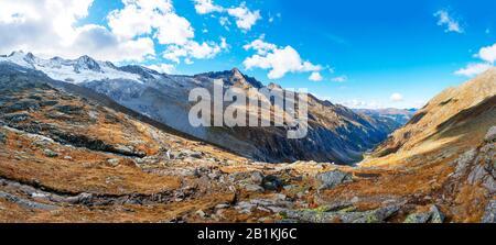 Mountain landscape, Wildgerlostal, Zillertal Alps, Hohe Tauern National Park, Krimml, Pinzgau, Salzburg Province, Austria - Stock Photo