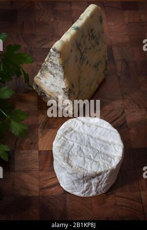 Blue cheese, goats cheese and fresh coriander - Stock Photo