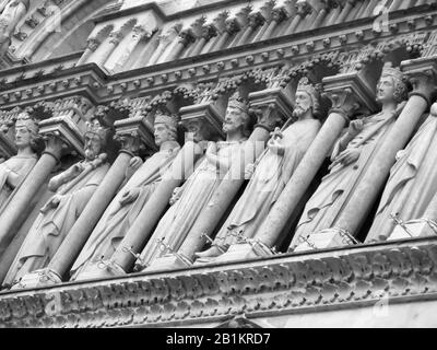 The Gallery of kings,  on the west façade of the Notre-Dame Cathedral in Paris, France, photographed in Monochrome - Stock Photo