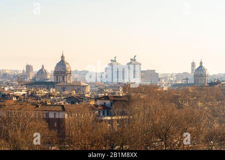 Altare della Patria also known as Vittoriano seen from Gianicolo hill, Rome, Lazio, Italy - Stock Photo