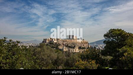 Athens Acropolis and Parthenon temple, Greece. Scenic view of ancient Greece remains seen from Philopappos or Filopappos Hill. Urban cityscape of Athe - Stock Photo