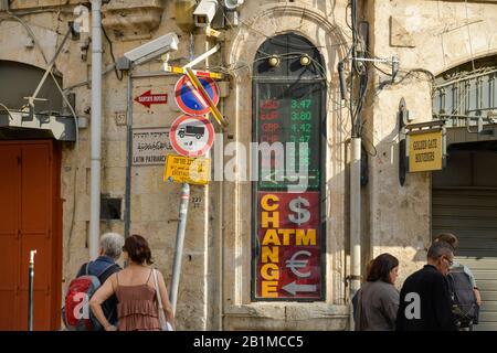 Kurse Geldwechsler, Jerusalem, Israel - Stock Photo