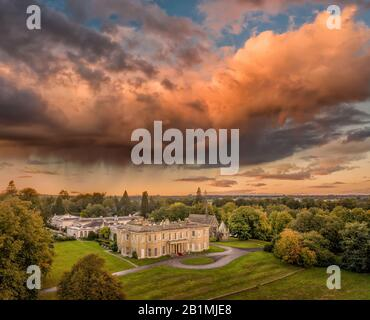 Sunset over Rudding Park Harrogate, North Yorkshire  wedding venue, hotel and conferences aerial view from the Golf Course - Stock Photo