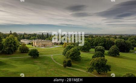 Rudding Park Harrogate, North Yorkshire  wedding venue, hotel and conferences aerial view from the Golf Course - Stock Photo
