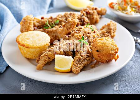 Southern fried fish with cornbread