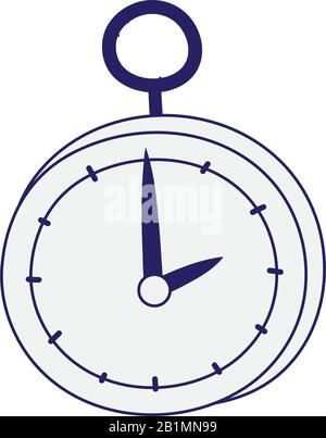 vintage pocket clock accessory icon design vector illustration line style - Stock Photo