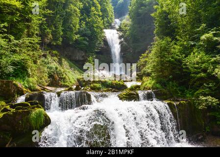 Giessbach waterfall at Lake Brienz in the Bernese Alps / Switzerland - Stock Photo