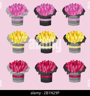 Vector set of images for the flower shop. Bouquets of flowers in  gray and black pots. Pink, red, yellow tulips. Spring set. 8th marh