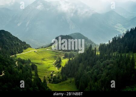 vista from Mount Herzogstand in Bavaria, Germany, Bavaria - Stock Photo