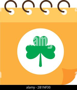 calendar reminder st patrick day, flat style icon vector illustration design - Stock Photo