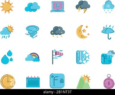 sun and weather concept of icons set over white background, colorful and flat style, vector illustration - Stock Photo