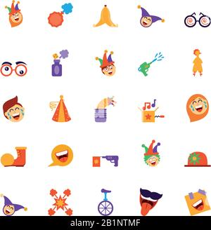 cartoon fools day icon set over white background, colorful and flat style design, vector illustration - Stock Photo