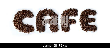 The word Cafe made from dark roasted coffee beans - Stock Photo