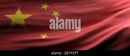 China sign symbol. Chinese national flag waving texture background, banner. 3d illustration - Stock Photo