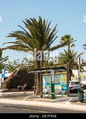 Public bus shelter on the sunshine island of Lanzarote Canary Islands Spain - Stock Photo