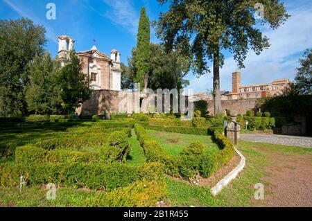 Italian gardens and Santa Maria del Monte Church in Sutri (on the right the village), Lazio, Italy - Stock Photo