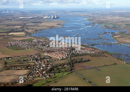aerial view of the River Aire in flood at Snaith, East Yorkshire (taken 26th Feburary 2020) - Stock Photo