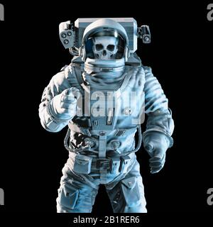 Pointing at you undead astronaut / 3D illustration of dramatically lit skull faced zombie astronaut pointing index finger on black background - Stock Photo