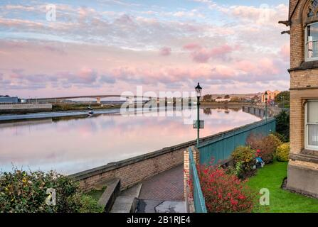 Views from the river banks of Barnstaple looking towards the Barnstaple Taw bridge, NorthDevon, South West, UK