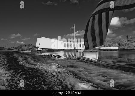 Leaving Arizona Memorial, Pearl Harbor, Oahu, Hawaii - Stock Photo
