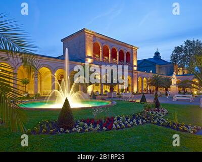 Arcades at the spa gardens in Bad Kissingen, Lower Franconia, Bavaria, Germany,
