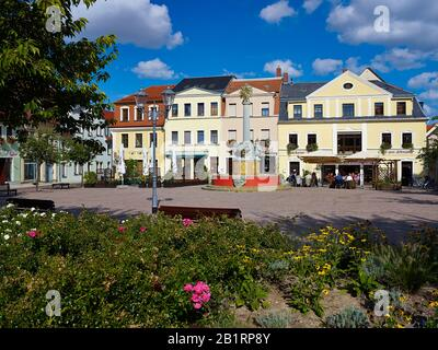 Old market with new well in Oschatz, administrative district North Saxony, Saxony, Germany, - Stock Photo
