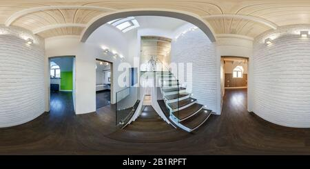 GRODNO, BELARUS - MAY, 2019: Full spherical seamless hdri panorama 360 degrees  view in white interior of guest room in homestead apartment with stair - Stock Photo