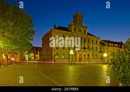 Market with town hall in Weimar, Thuringia, Germany, - Stock Photo