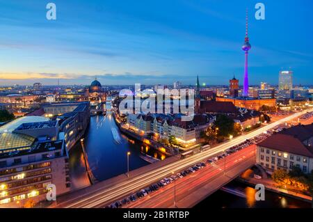 Skyline at night, Fischerinsel, Berlin-Mitte, Berlin, Germany - Stock Photo