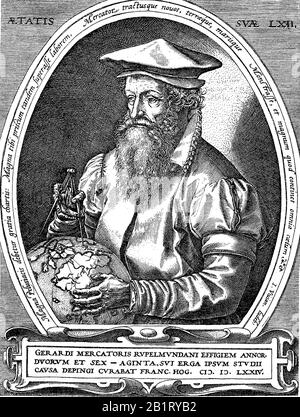 Gerardus Mercator, 5 March 1512 - 2 December 1594, was a 16th-century geographer, cosmographer and cartographer from the County of Flanders  /  Gerhard Kremer Mercator, ein Geograph und Kartograf, Historisch, digital improved reproduction of an original from the 19th century / digitale Reproduktion einer Originalvorlage aus dem 19. Jahrhundert - Stock Photo