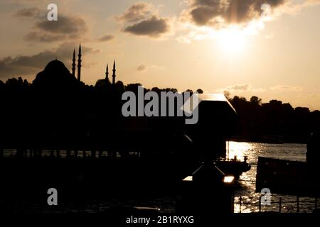 The silhouette of the Suleymaniye mosque was photographed during the sunset. - Stock Photo